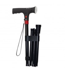 Folding aluminum cane w / light